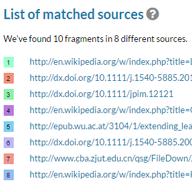 Liste des sources reliées