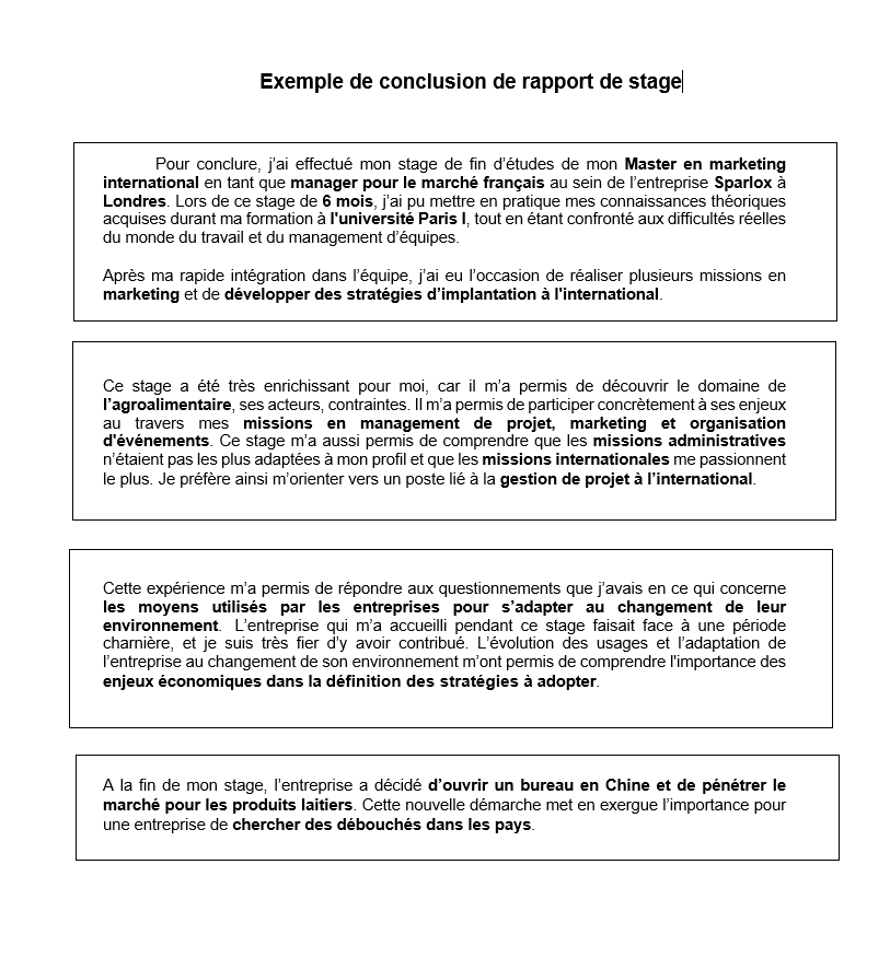 Conclusion De Rapport De Stage Methodologie Et Exemple