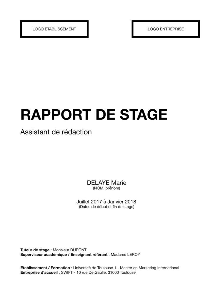 Couverture rapport stage for Rapport de stage en cuisine exemple
